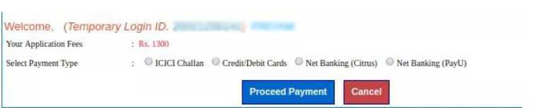 Application Fee Payment Page