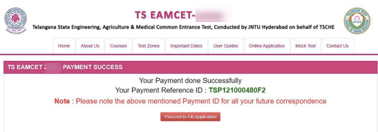 TS EAMCET Successful Registration