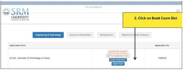 SRM Exam Book Slot
