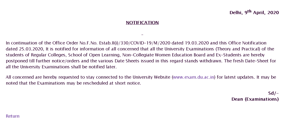 Delhi University Exam Postpone Announcement