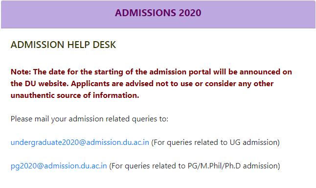 DU Admission 2020