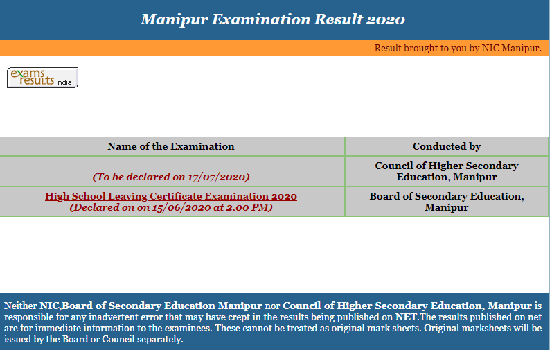 Manipur 12th Board Result