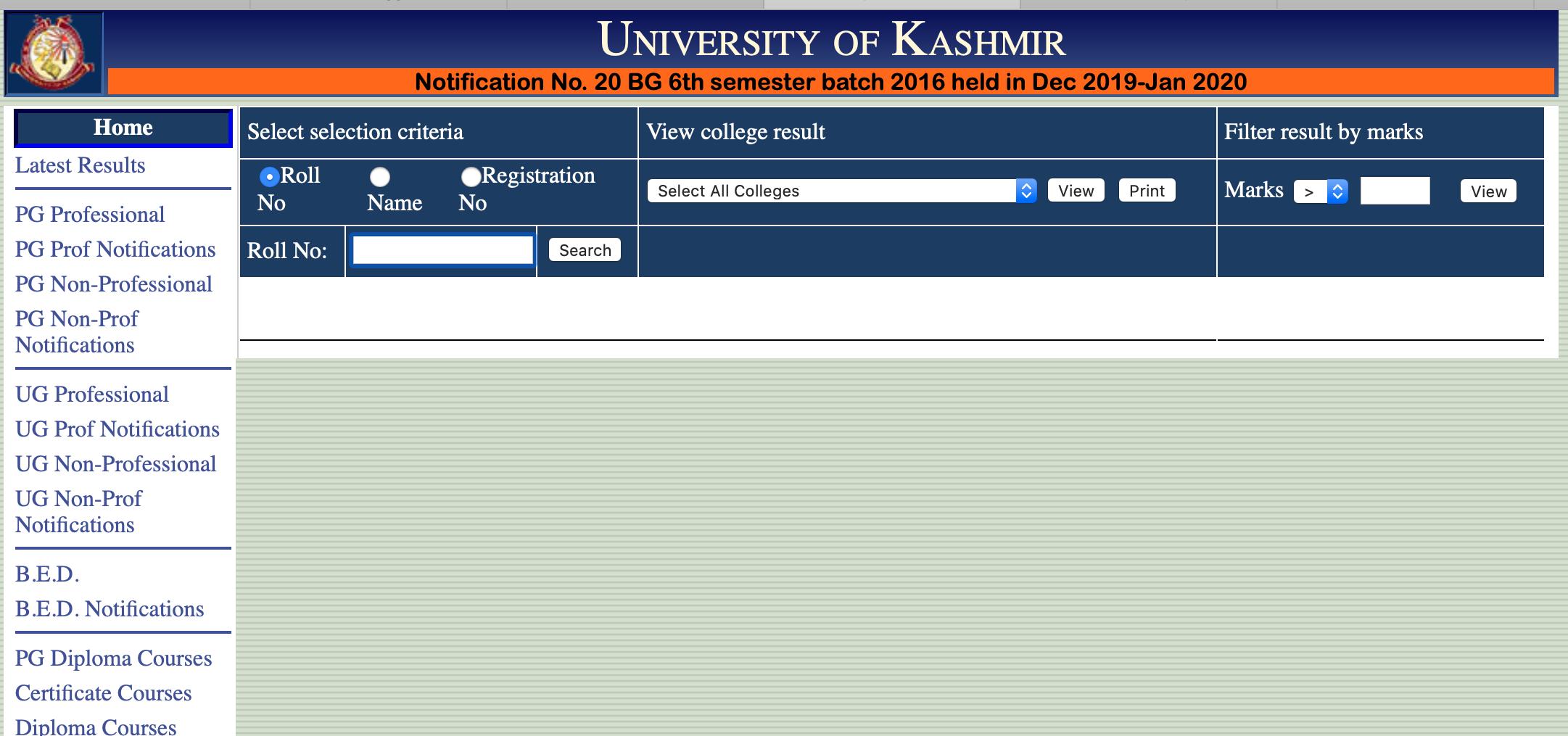 Kashmir University Result