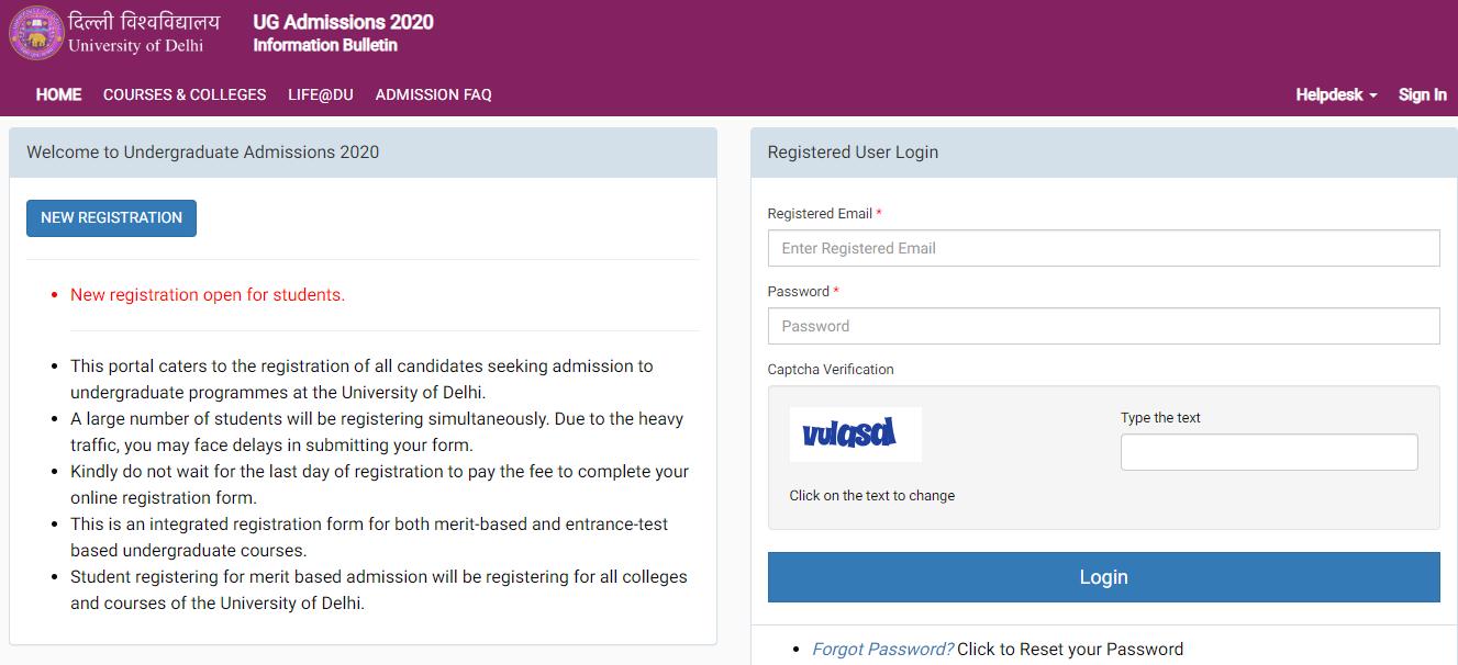DU UG Registration 2020