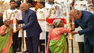 Photo of Watch: Breaking Protocol, 107-Yr-Old 'Mother Of Trees' Blessed President Kovind While Receiving Padma Award