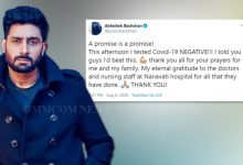 Photo of A Promise Is A Promise, Tweets Abhishek Bachchan Upon Testing COVID-19 Negative