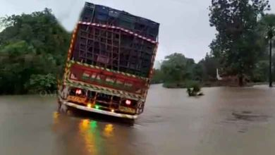 Photo of Narrow Escape For Driver, Helper As Flood Water Sweeps Away Truck In Malkangiri