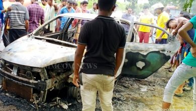 Photo of Ganja Laden Car Catches Fire While Trying To Escape Checkpoint In Malkangiri