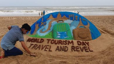 Photo of Odisha's Manas Sahoo Creates Sand Art To Promote World Tourism