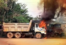 Photo of Parked Dumper Catches Fire In Bhubaneswar's Mancheswar Industrial Area