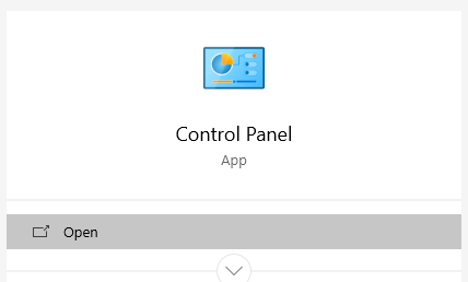 open Control Panel on your Windows PC using Windows Search