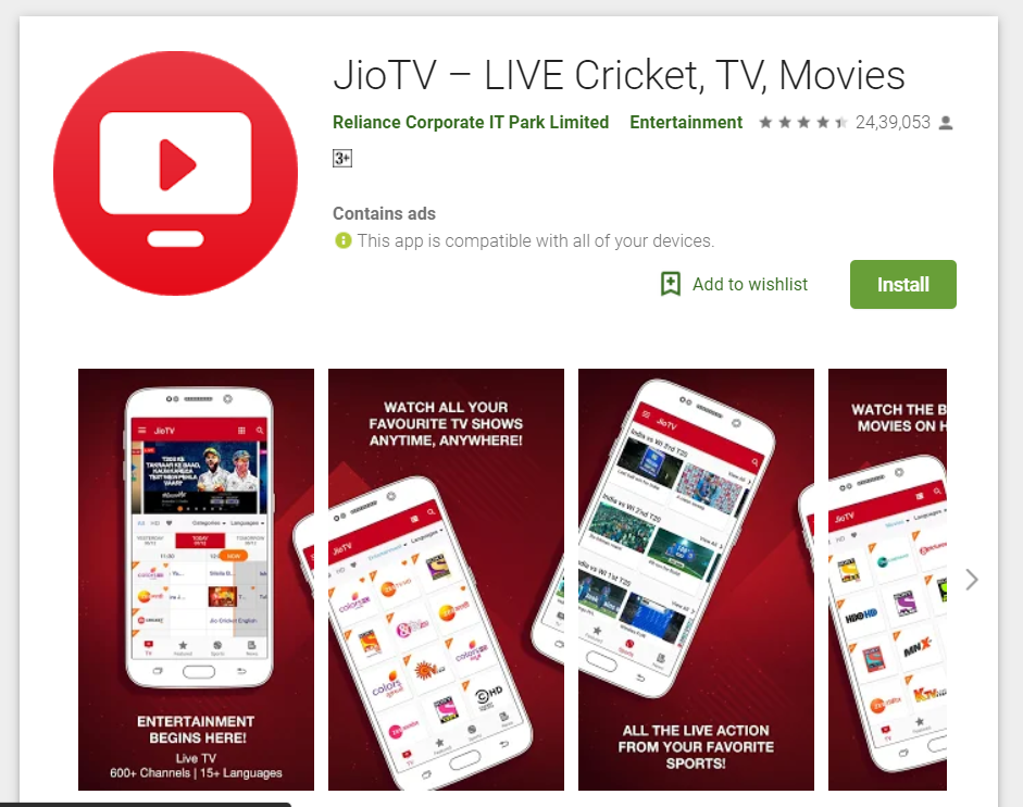 Features of Jio TV for PC