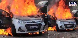 Hyundai car catches fire