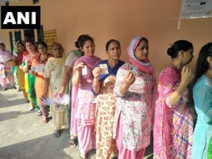 Haryana Chief Minister Manohar Lal Khattar Including other candidates vote at a polling booth