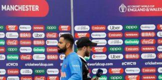 India's captain virat kohli and new zealand's captain kane williamson after the semi-final match between india and new zealand