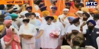 Sukhbir Singh Badal, Harsimrat Kaur Badal and other leaders welcome the International Nagar Kirtan coming from Sri Nankana Sahib