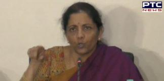Finance Minister Nirmala Sitharaman addresses the media in Delhi