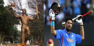 Punjab: Yuvraj Singhstatue unveiled in Ferozpur cricket stadium