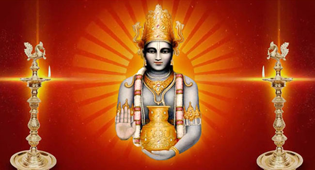 Dhanvantari Homa performed in the name of patients undergoing crucial surgeries and medical treatment.