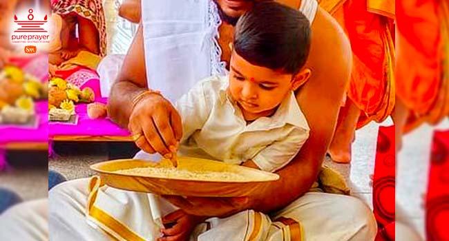 Aksharabhyasam also known as Hathe Khori or Vidyarambh