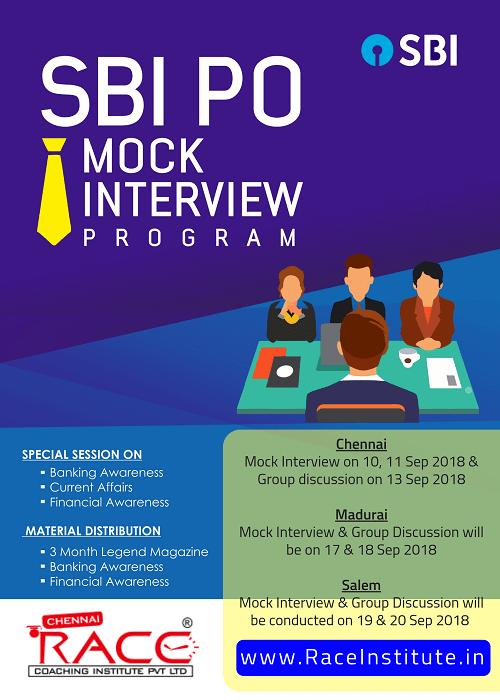 SBI PO 2018 - MOCK INTERVIEW PROGRAM IN RACE INSTITUTE - BEST SBI PO EXAM COACHING-min
