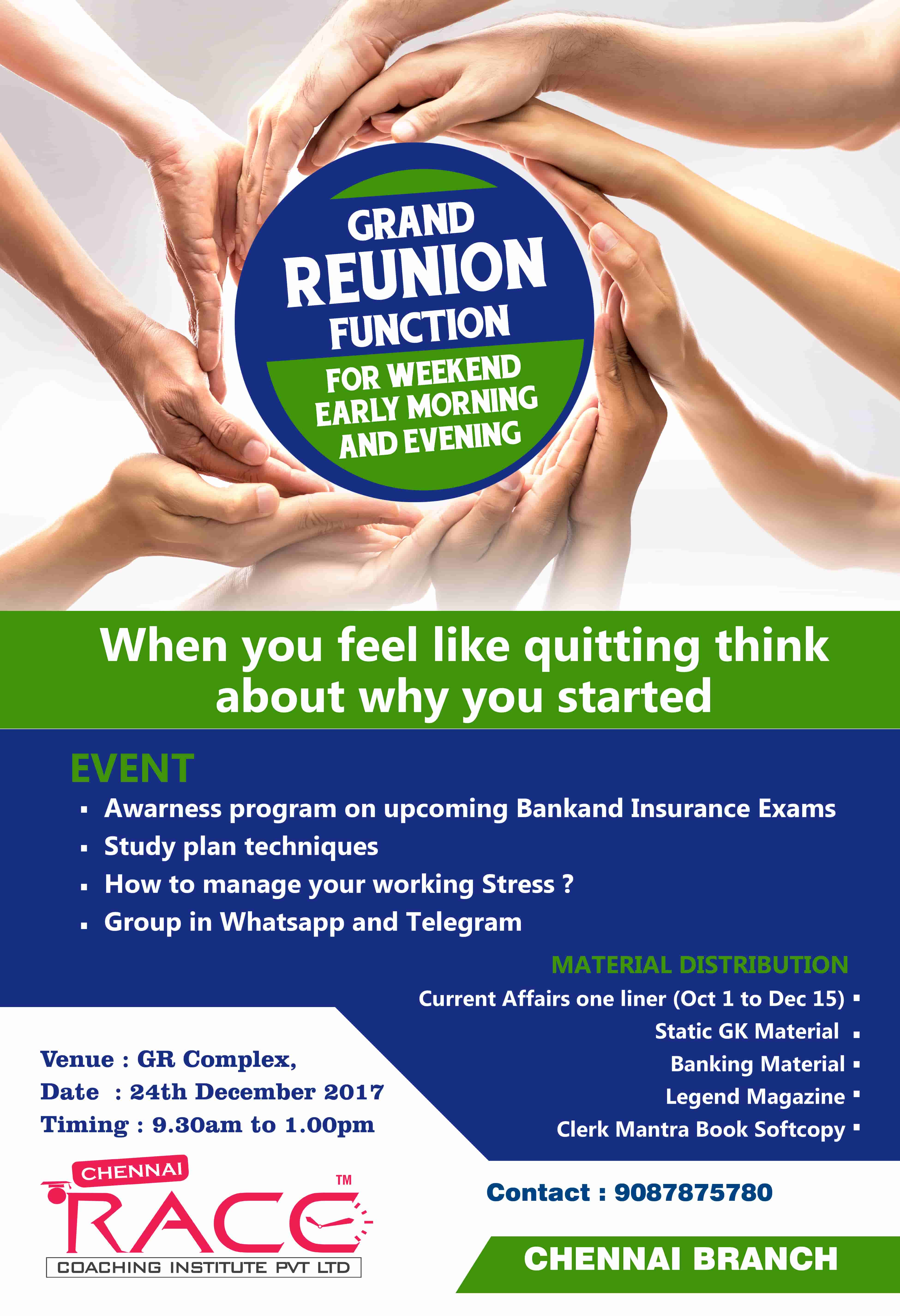 Grand reunion Function - for dropout students in chennai branch race institute