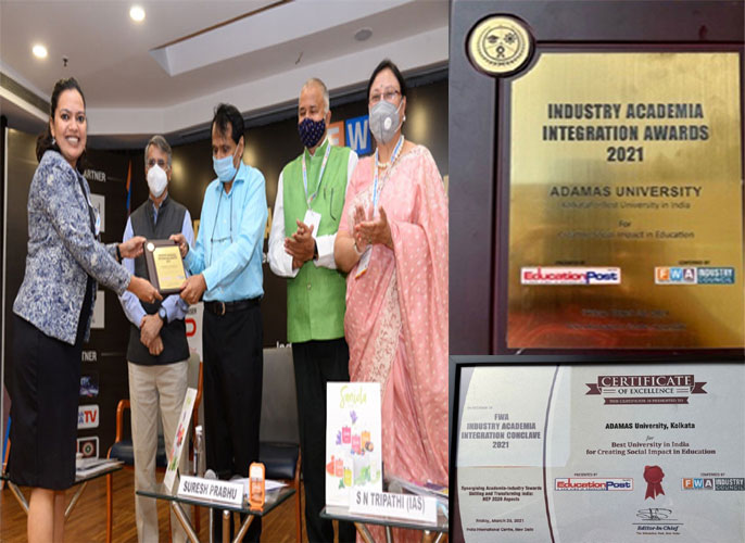 Adamas University recognised as the best university in india for creating social impact in education