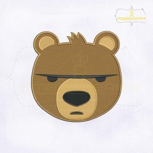 Brown Bear Face Emoji Embroidery Design