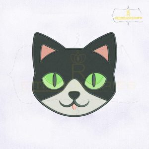 Cute Cat Face Embroidery Design