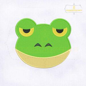 Frog Emoji Embroidery Design