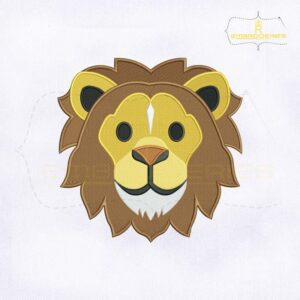 Lion Face Emoji Embroidery Design