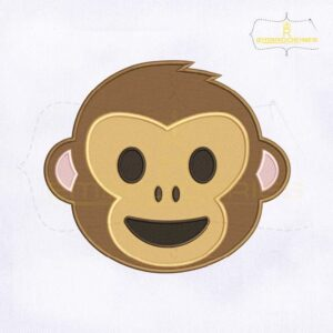Happy Monkey Face Emoji Embroidery Design