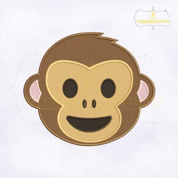 Happy Monkey Face Emoji Embroidery Design