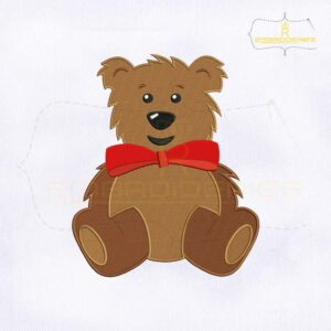 Cute Bear Emoji Embroidery Design