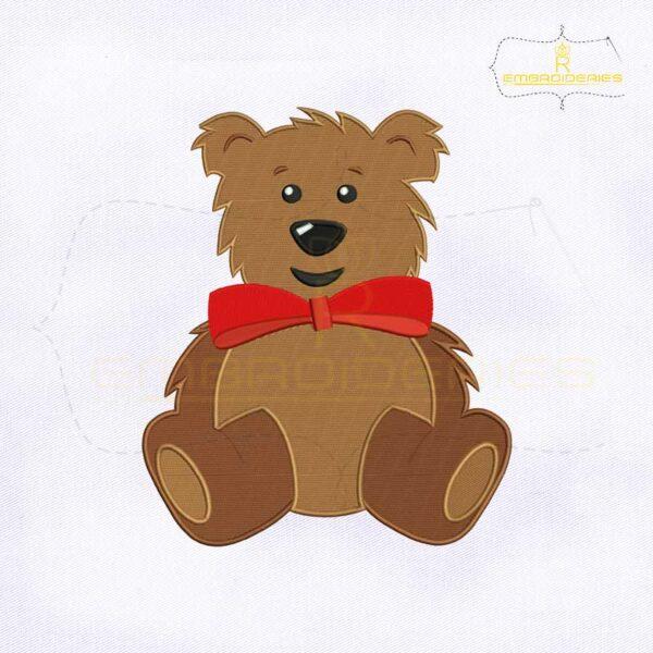Cute Bear Emoji Embroidery Design