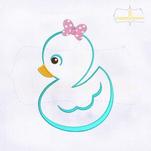 Baby Girl Outline Duck Embroidery Design