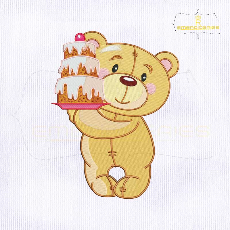 Teddy Bear Birthday Cake Embroidery Design Royalembroideries