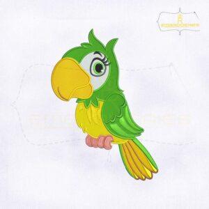 Loro Animado Green Parrot Embroidery Design
