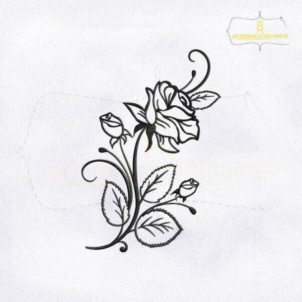 Rose Flower Stencil Embroidery Design