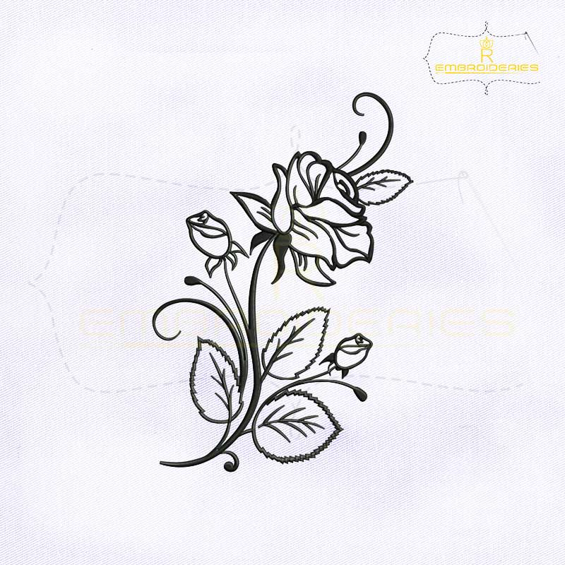 Rose Flower Stencil Embroidery Design Royalembroideries