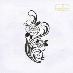 Silhouette Rose Vine Embroidery Design