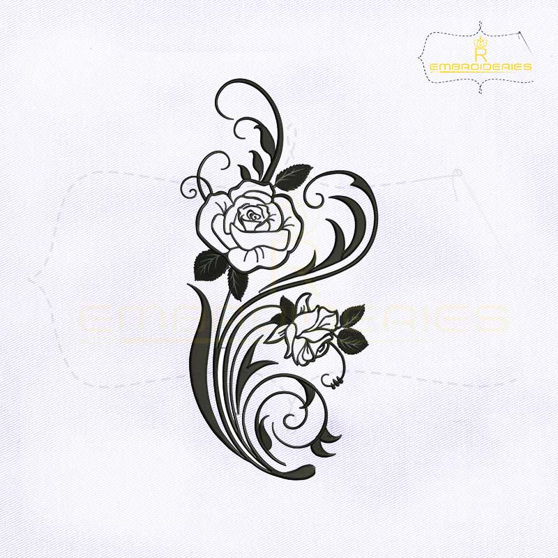 Silhouette Rose Vine Embroidery Design Royalembroideries
