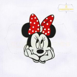 Cute Minnie Mouse Face Embroidery Design