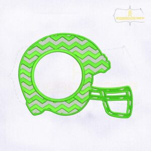 Chevron Green Helmet Monogram Embroidery Design