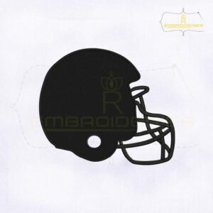 Black American Football Helmet Embroidery Design
