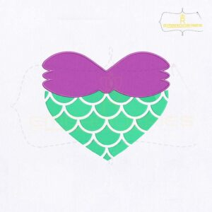 Mermaid Fin Heart Embroidery Design