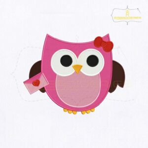 Cute Pink Owl Letter Embroidery Design