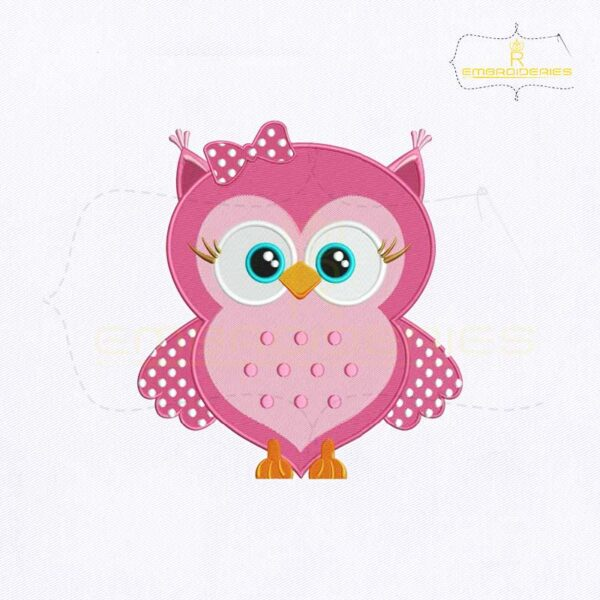 Cute Pink Baby Owl Embroidery Design