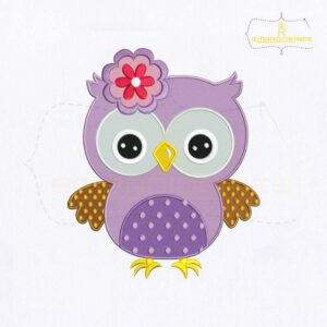 Beautiful Purple Baby Owl Embroidery Design