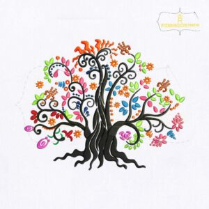 Colorful Life of Tree Embroidery Design